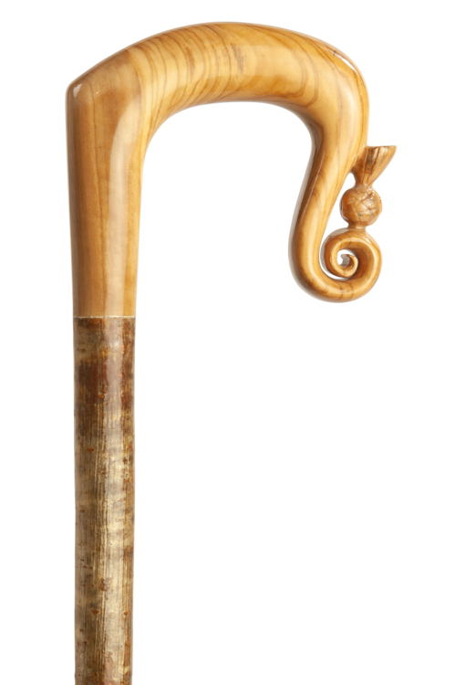 Handmade Olive Wood Ladies' Crook with Thistle Nose on a Malted Hazel Shaft