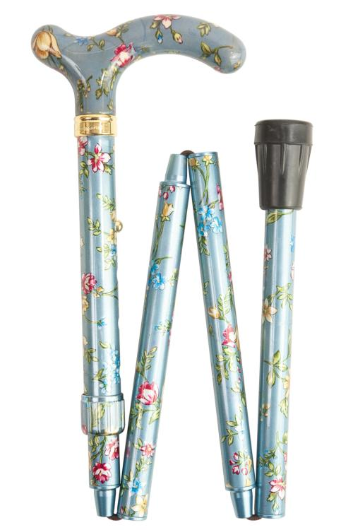 Petite Adjustable Folding Cane - Grey Floral