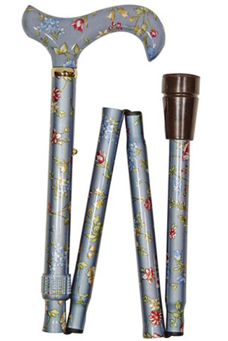 Elite Folding Walking Stick - Grey Floral