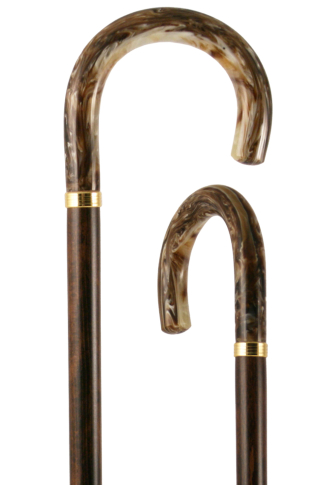 Golden Beige Acrylic Crook Handled Walking Stick
