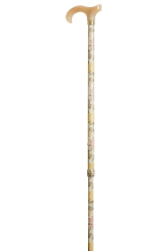 Petite Adjustable Derby Walking Stick - English Roses