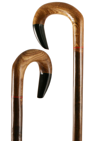 Hand Carved Elmwood Crook with Buffalo Horn Tip on Hazel