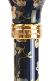 Tea Party Adjustable Walking Stick - Dark Blue Floral