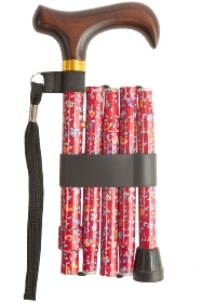 Handbag Folding Stick - Red Floral Pattern