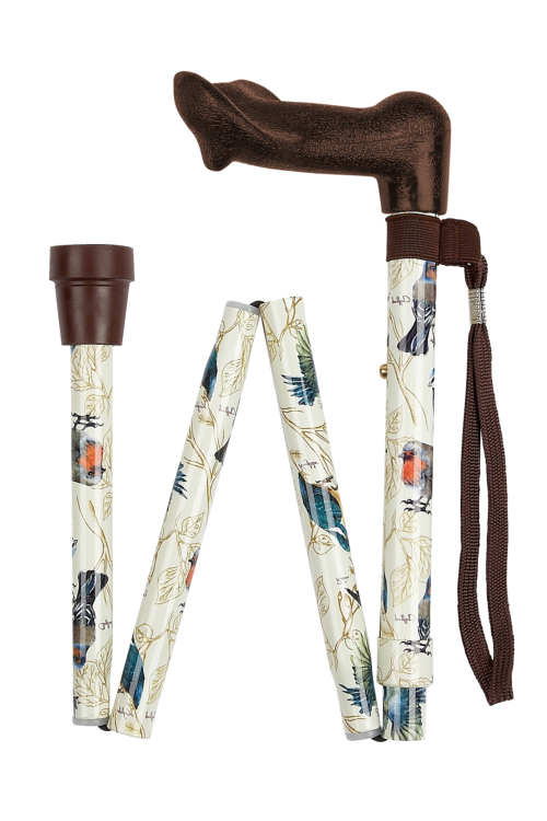 Anatomical Right Handed British Birds Folding Walking Stick