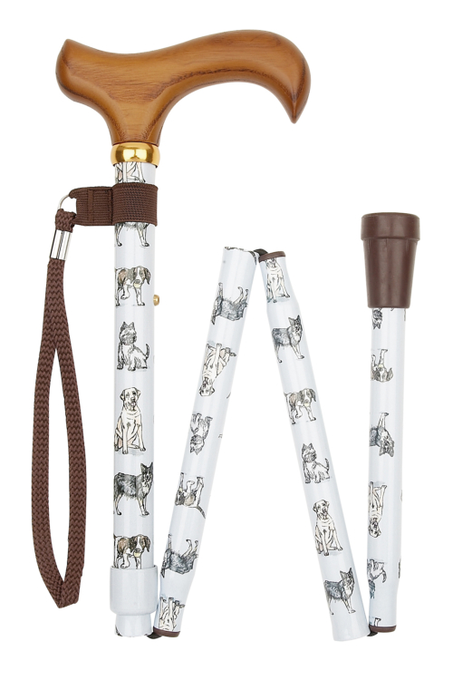 Deluxe Folding Walking Stick - Dogs