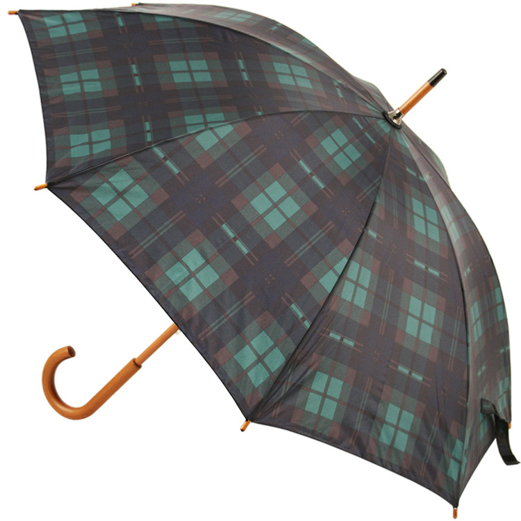 Tartan Walking Length Umbrella - Green & Navy (as Black Watch)