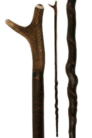 Antler Thumbstick on Unique Natural Long Spiral Shaft (141cm)