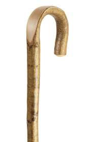 Natural Hazel Crook Walking Stick with Polished Handle