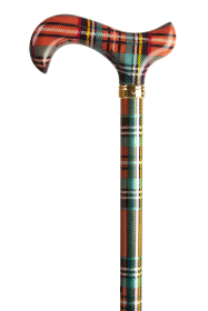 Fashion Derby Adjustable Walking Stick - Multi Tartan