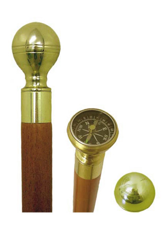 Compass Topped Walking Stick