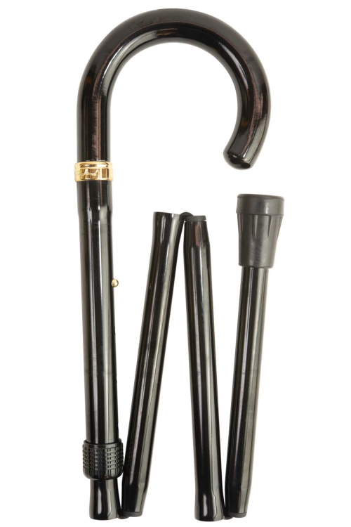 Black Crook Handle Folding Walking Stick