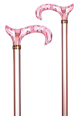 Candy Cane Extending Derby Walking Stick - Pink