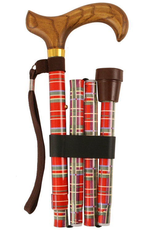 Deluxe Folding Walking Stick - Royal Stewart Tartan