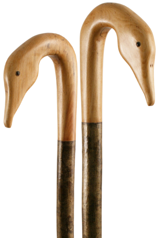Handmade Goose Head Shepherd's Crook on Hazel Shaft