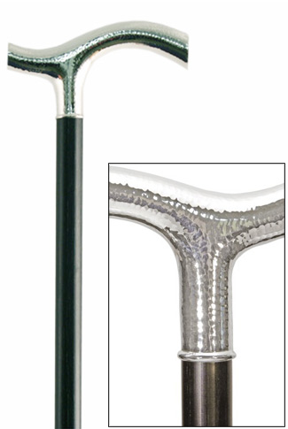 Silver Hand Hammered Crutch Dress Cane