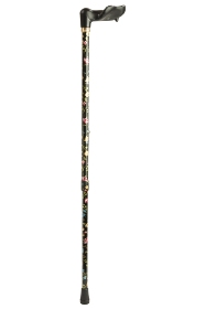 Anatomical Black Floral Adjustable Walking Cane - Right Handed
