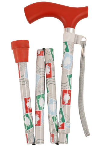 Crutch Handled Deluxe Folding Walking Stick - Stamps