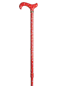 Fashion Derby Adjustable Walking Stick - Red with Spots