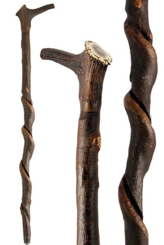 Staghorn Handled Walking Stick on Unique Natural Shaft