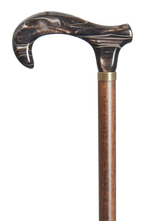Acrylic Derby Moderne Walking Stick - Coffee Brown Marbled