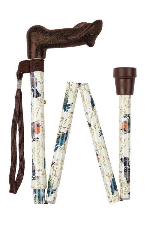 Anatomical Left Handed British Birds Folding Walking Stick
