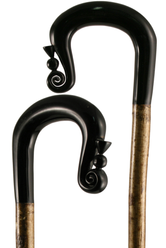 Hand Carved Buffalo Horn Shepherds Crook with Thistle Nose on Hazel Shaft