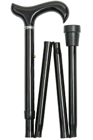 Black Extra Long Derby Folding Walking Cane - 89 to 100 cm