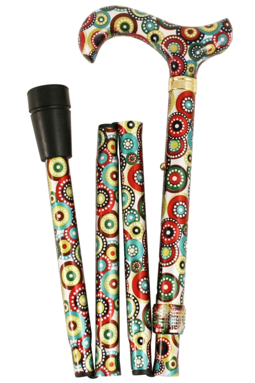 Fashion Folding Walking Stick - Green & Red Concentric Circles