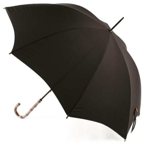 Ladies Black Umbrella with Bamboo Handle