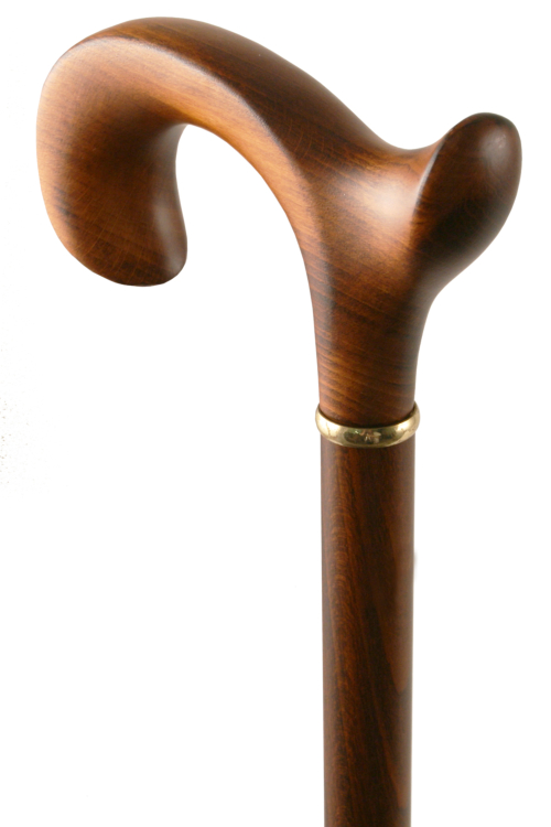 Beech Scorched Fashioned Derby Walking Stick - Left