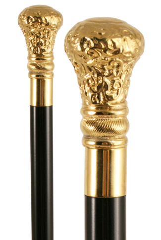 Gold Plated Pewter Moulded Top Walking Stick
