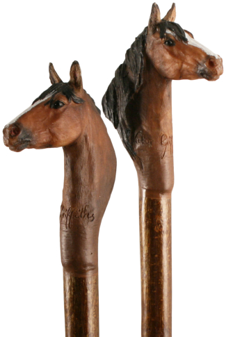 Handmade Horse Head Hiking Stave with Hazel Shaft