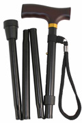Black Extra Long Folding Walking Stick - 90 to 100cm