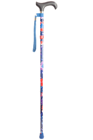 Folding Walking Stick - 5 Sections - Floral Blue