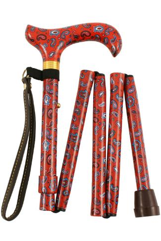 Red Paisley Handle Handbag Sized Folding Walking Stick