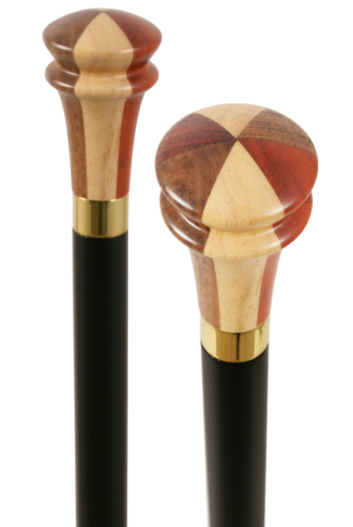 Arts & Crafts Collectors Parquetry Top Walking Stick