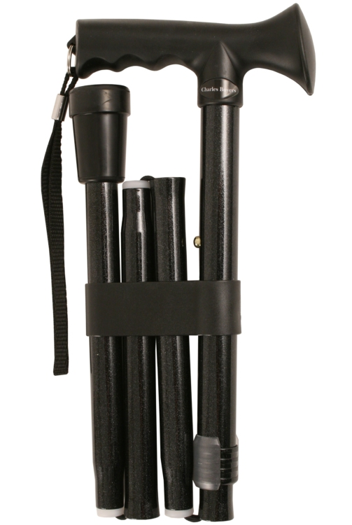 Gel Handle Folding Walking Stick - Black