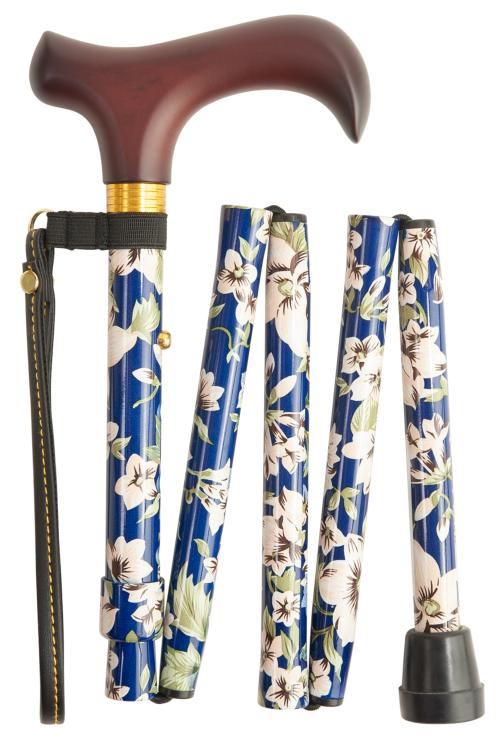 Folding Walking Stick - 5 Sections - Blue Morris Pattern