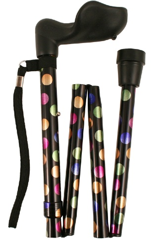 Anatomical Right Handed Folding Walking Stick - Multi Dotty