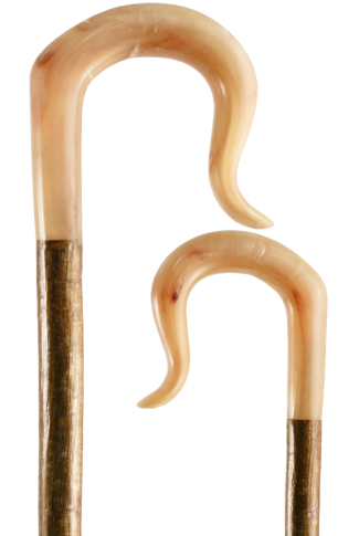Hand Carved Rams Horn Shepherd's Crook on a Hazel Shaft