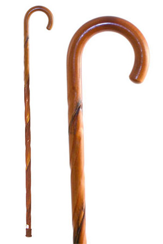 Swirl Acacia Crook Walking Stick