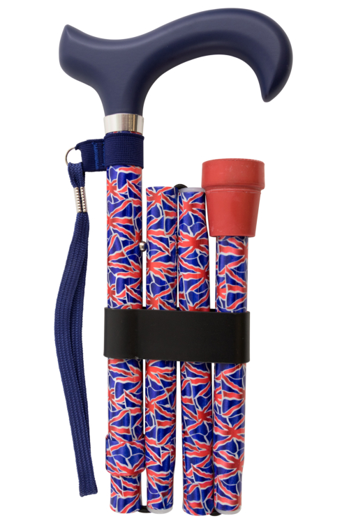 Deluxe Folding Walking Stick with Derby Handle - British Union Jack Flag