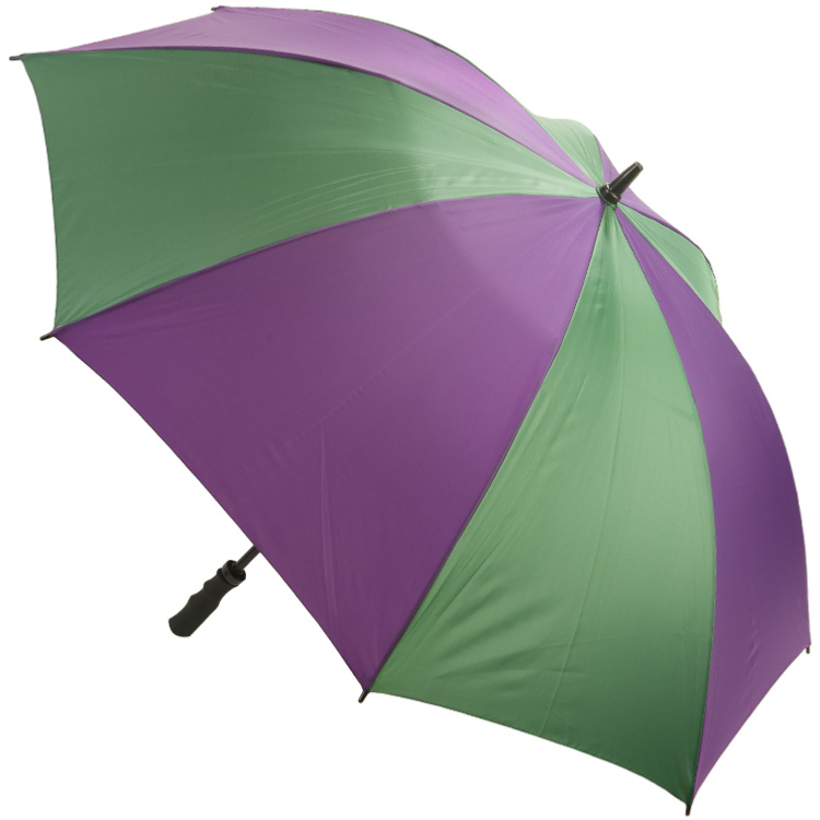 Colour Panelled Golf Umbrella - Purple & Green