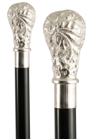 Silver Plated Pewter Top Acanthus Formal Dress Cane