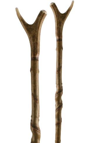 Antler Thumbstick on Unique Natural Long Spiral Shaft (133cm)