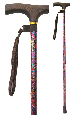 Red Paisley Adjustable Walking Stick