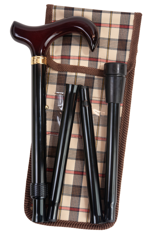 Maple Handled Derby Folding Walking Cane with Check Pouch