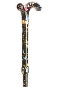 Petite Adjustable Folding Cane - Black Floral