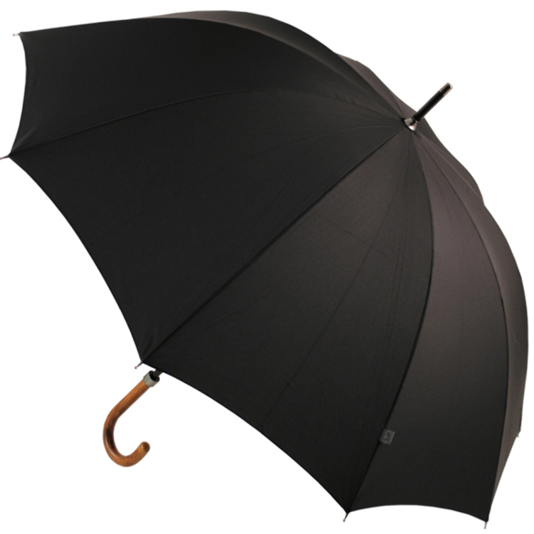 M&P Men's City Walking Length Umbrella with Wooden Crook Handle